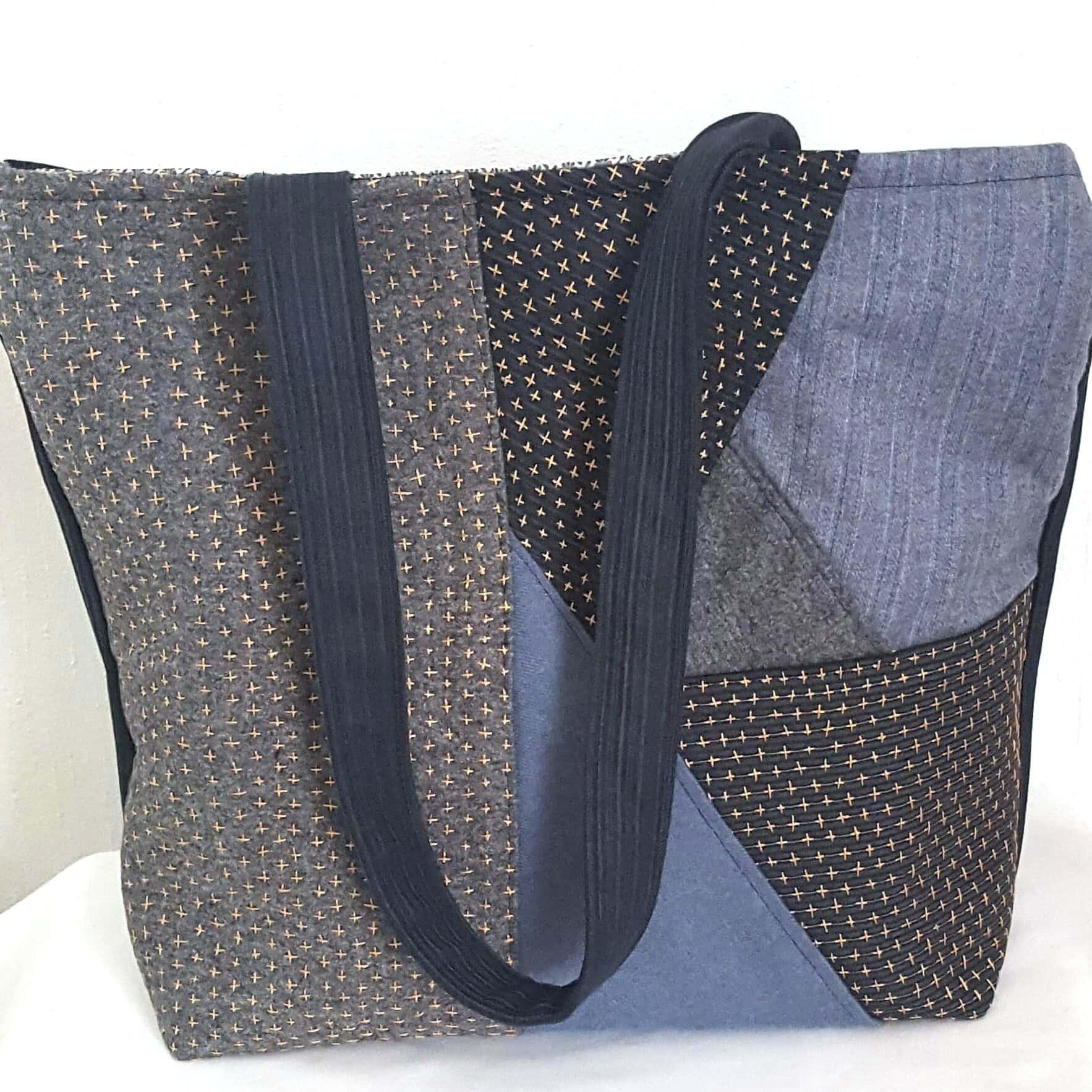 Grand sac brodé main façon sashiko